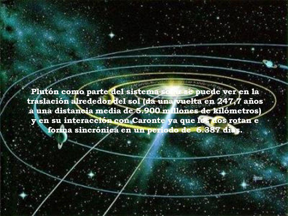 Plutón como parte del sistema solar se puede ver en la traslación alrededor del sol (da una vuelta en 247,7 años a una distancia media de 5.900 millones de kilómetros) y en su interacción con Caronte ya que los dos rotan e forma sincrónica en un periodo de 6.387 días.