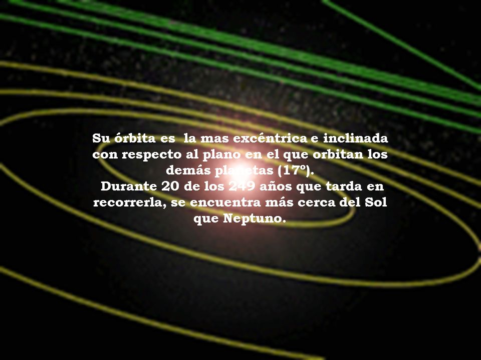 Su órbita es la mas excéntrica e inclinada con respecto al plano en el que orbitan los demás planetas (17º).