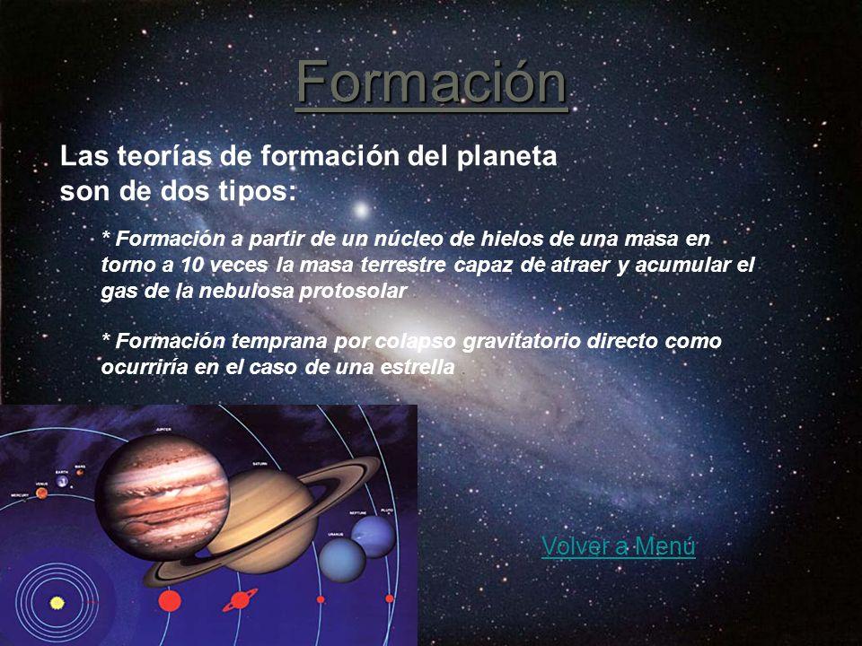 Formación Las teorías de formación del planeta son de dos tipos: