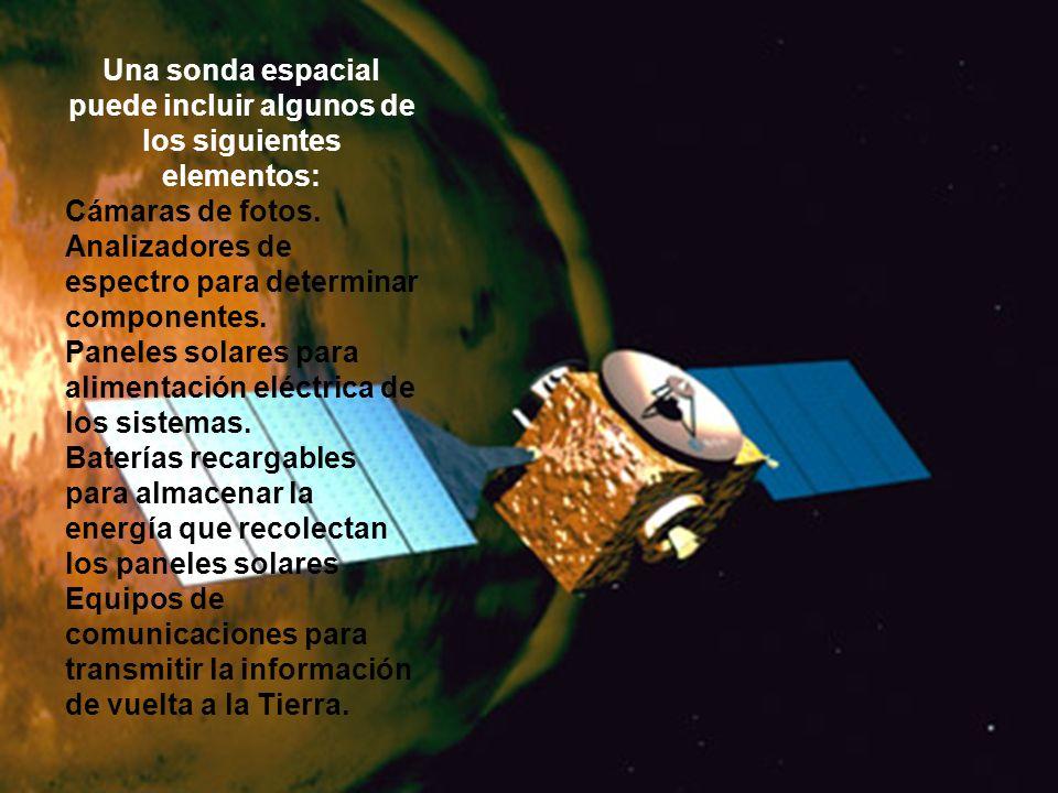 Una sonda espacial puede incluir algunos de los siguientes elementos: