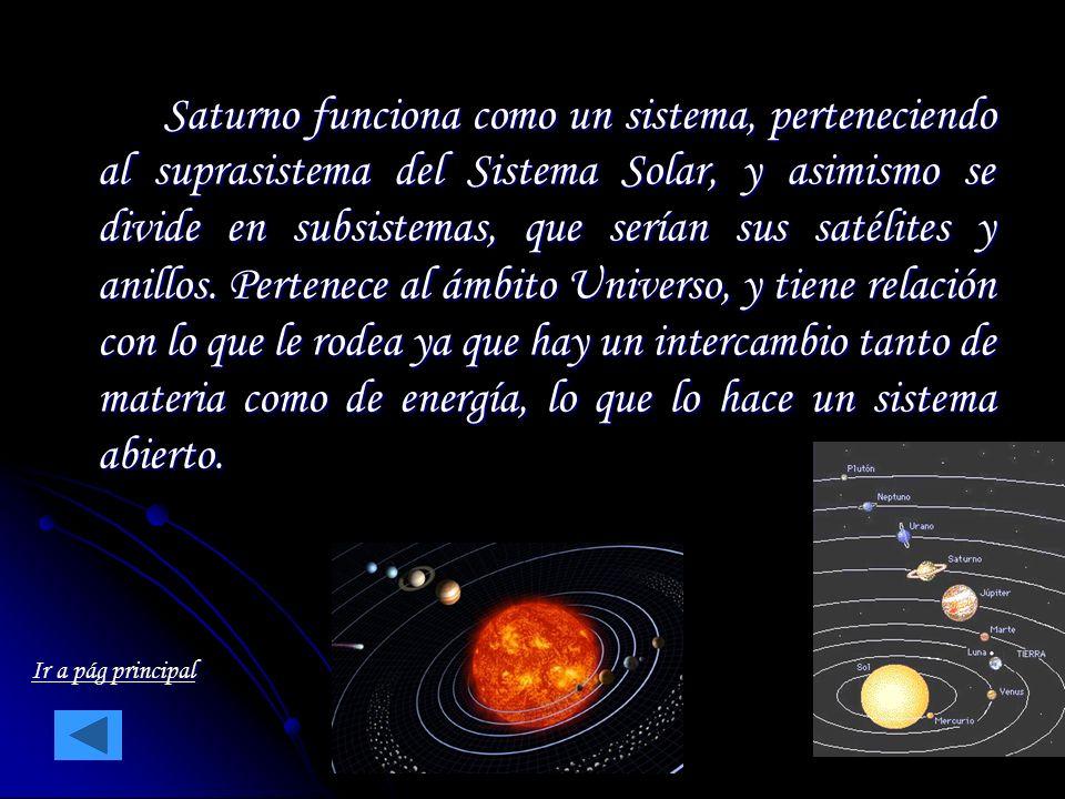 Saturno funciona como un sistema, perteneciendo al suprasistema del Sistema Solar, y asimismo se divide en subsistemas, que serían sus satélites y anillos. Pertenece al ámbito Universo, y tiene relación con lo que le rodea ya que hay un intercambio tanto de materia como de energía, lo que lo hace un sistema abierto.