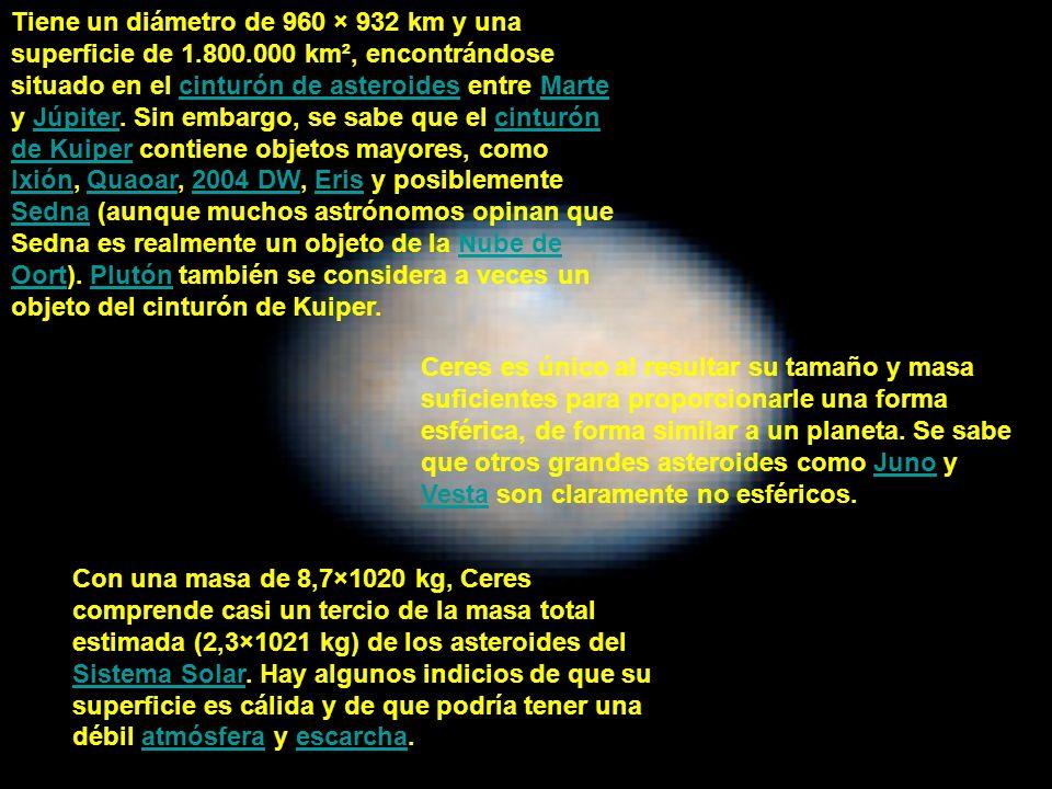 Tiene un diámetro de 960 × 932 km y una superficie de 1. 800