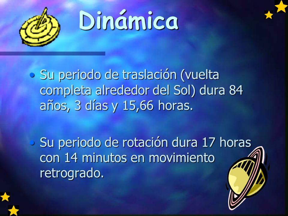 Dinámica Su periodo de traslación (vuelta completa alrededor del Sol) dura 84 años, 3 días y 15,66 horas.