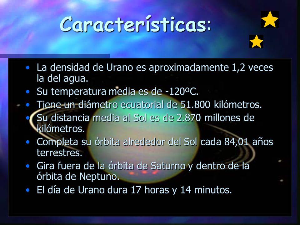 Características: La densidad de Urano es aproximadamente 1,2 veces la del agua. Su temperatura media es de -120ºC.