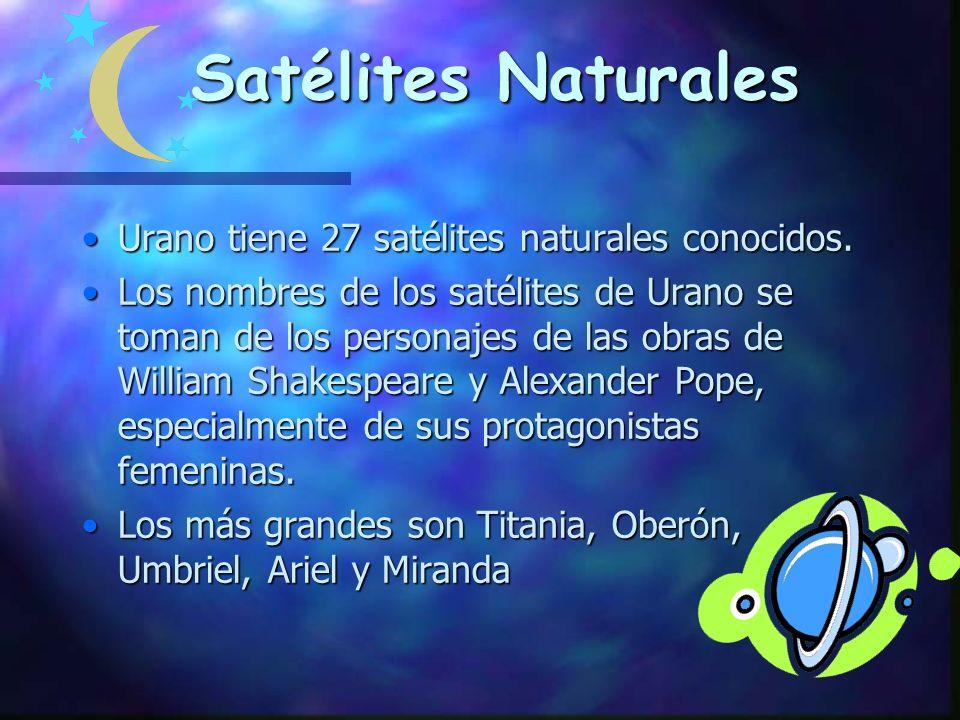 Satélites Naturales Urano tiene 27 satélites naturales conocidos.