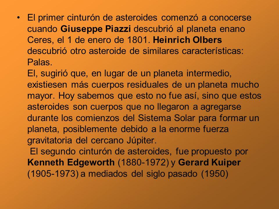 El primer cinturón de asteroides comenzó a conocerse cuando Giuseppe Piazzi descubrió al planeta enano Ceres, el 1 de enero de 1801.
