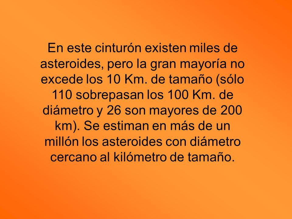 En este cinturón existen miles de asteroides, pero la gran mayoría no excede los 10 Km.