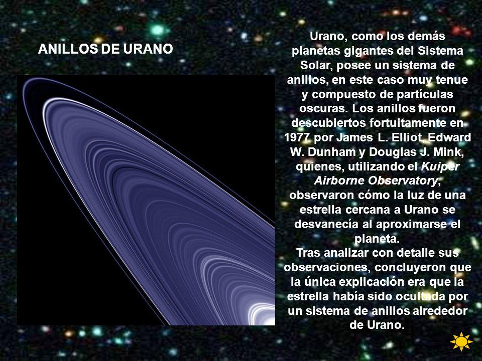 Urano, como los demás planetas gigantes del Sistema Solar, posee un sistema de anillos, en este caso muy tenue y compuesto de partículas oscuras. Los anillos fueron descubiertos fortuitamente en 1977 por James L. Elliot, Edward W. Dunham y Douglas J. Mink, quienes, utilizando el Kuiper Airborne Observatory, observaron cómo la luz de una estrella cercana a Urano se desvanecía al aproximarse el planeta.