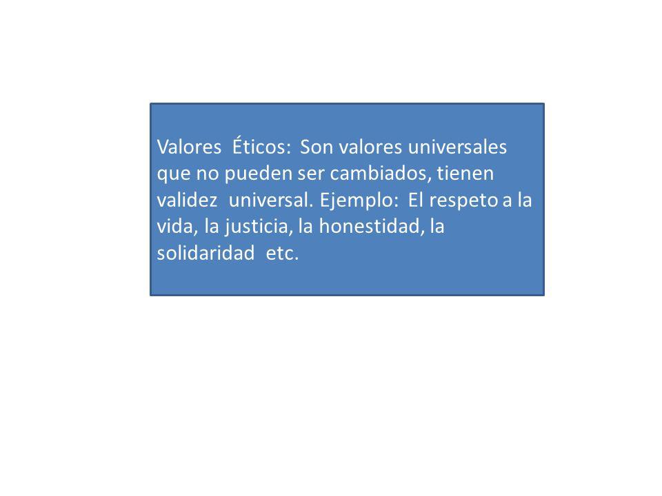 Valores Éticos: Son valores universales que no pueden ser cambiados, tienen validez universal.