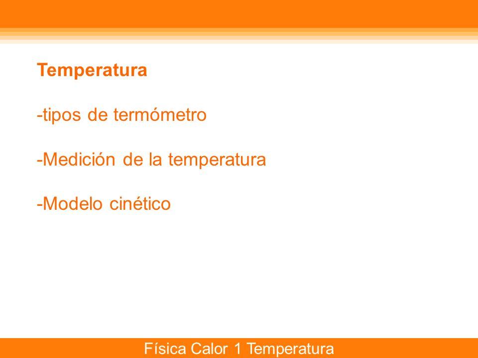 Temperatura -tipos de termómetro -Medición de la temperatura -Modelo cinético