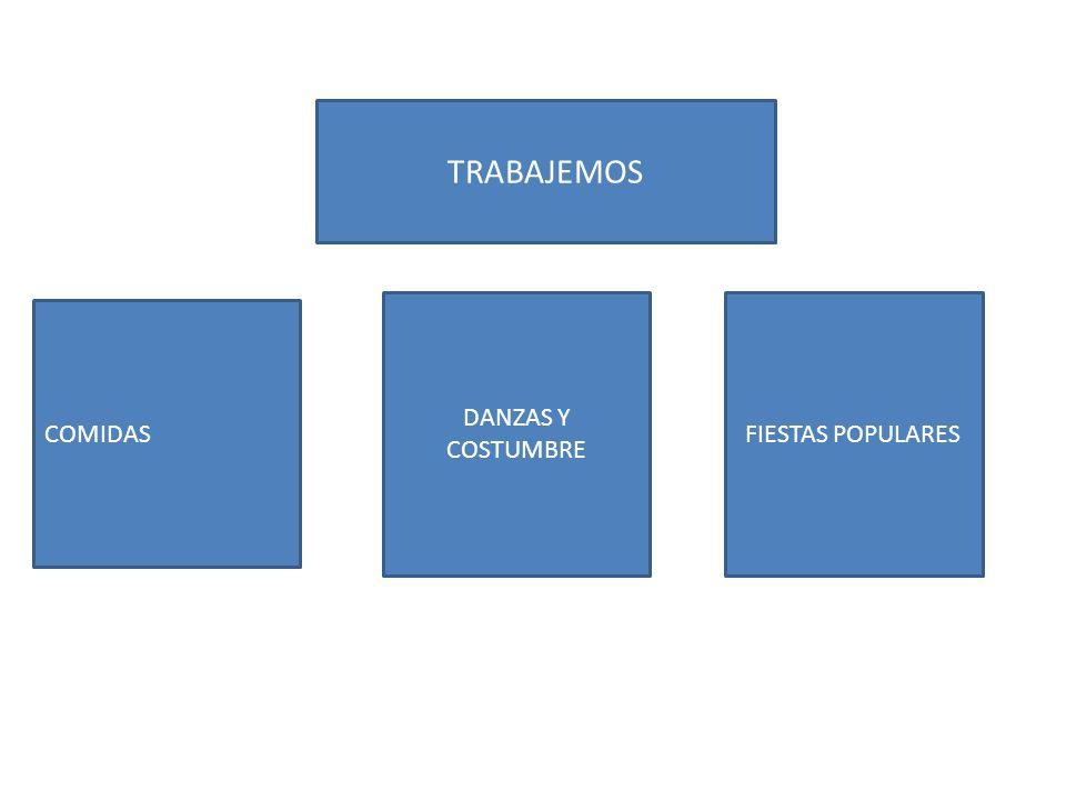 TRABAJEMOS DANZAS Y COSTUMBRE FIESTAS POPULARES COMIDAS