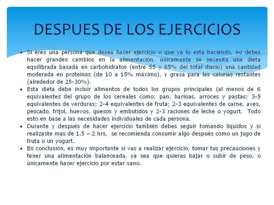 DESPUES DE LOS EJERCICIOS