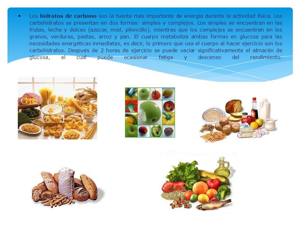 Los hidratos de carbono son la fuente más importante de energía durante la actividad física.