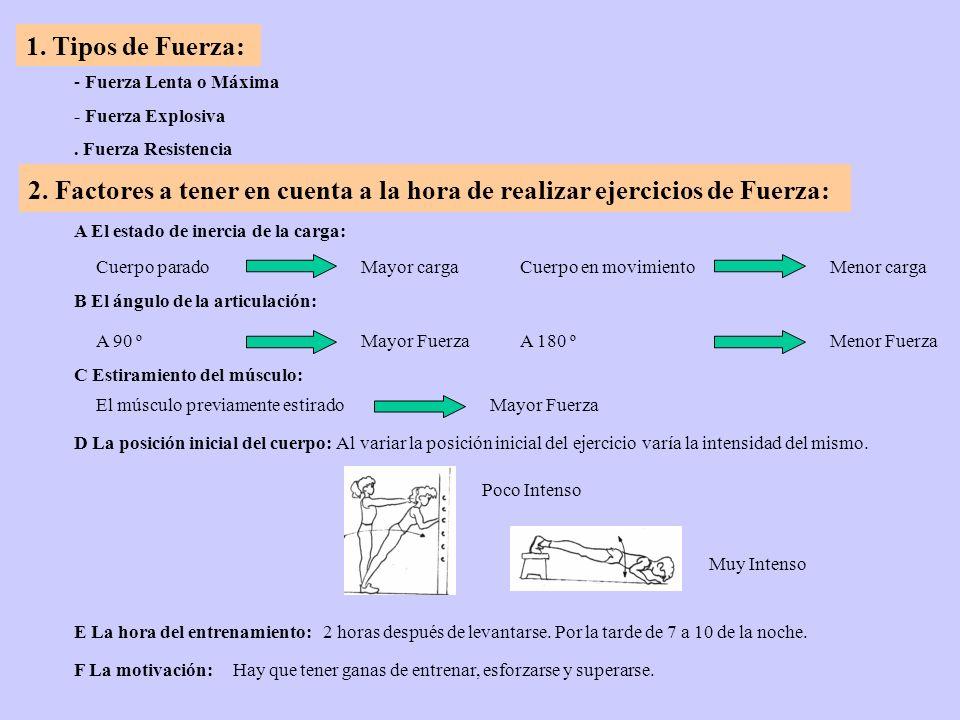 1. Tipos de Fuerza:- Fuerza Lenta o Máxima. - Fuerza Explosiva. . Fuerza Resistencia.