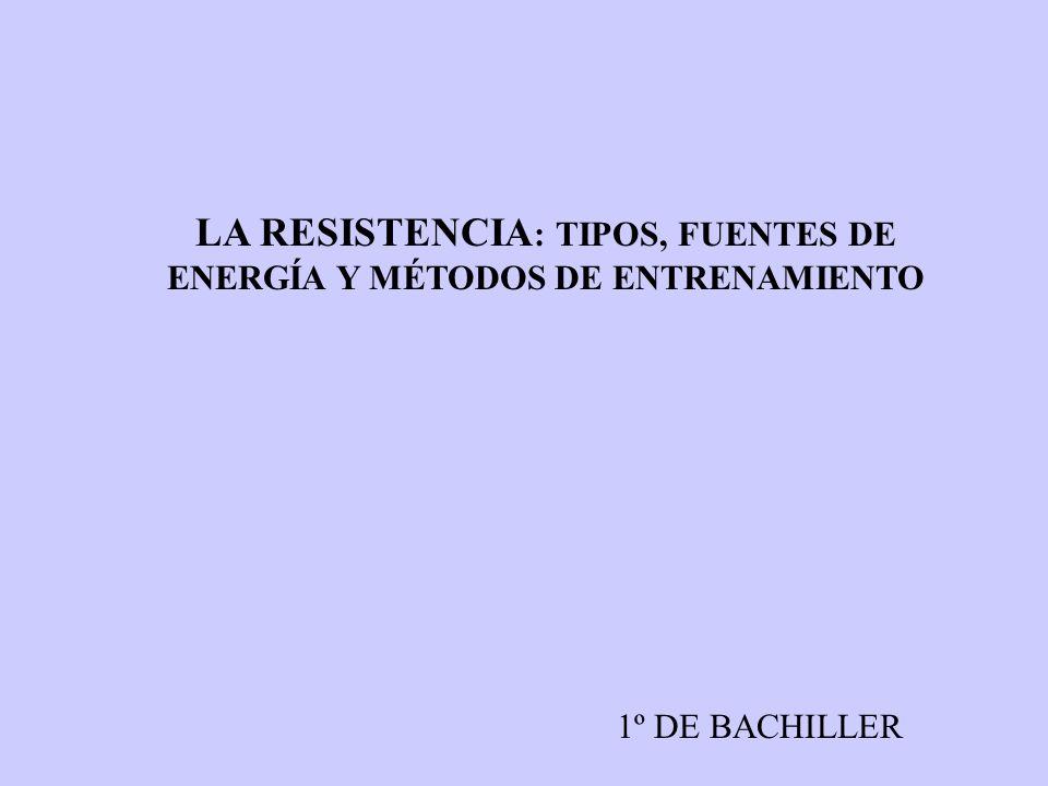 LA RESISTENCIA: TIPOS, FUENTES DE ENERGÍA Y MÉTODOS DE ENTRENAMIENTO