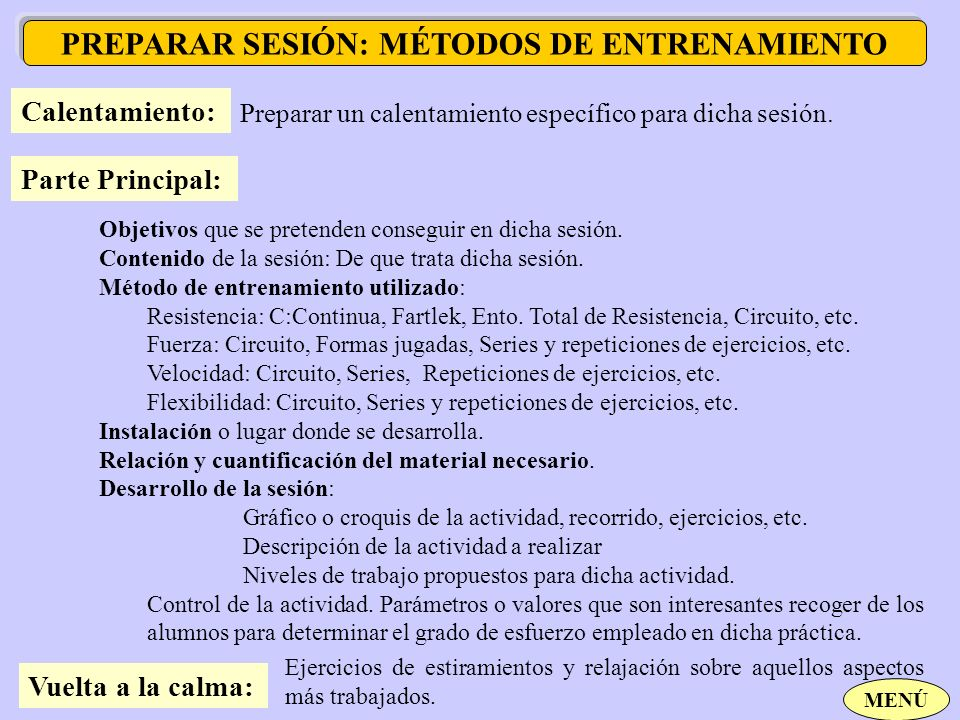 PREPARAR SESIÓN: MÉTODOS DE ENTRENAMIENTO
