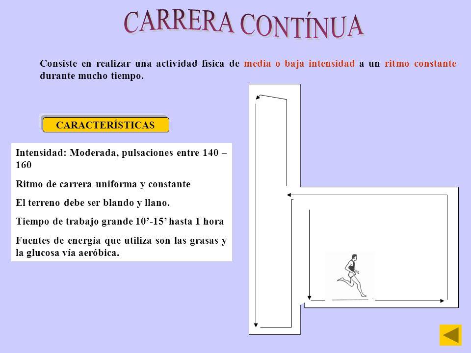 CARRERA CONTÍNUAConsiste en realizar una actividad física de media o baja intensidad a un ritmo constante durante mucho tiempo.