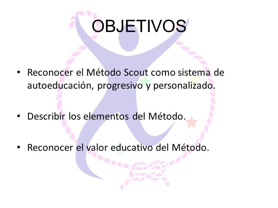 OBJETIVOS Reconocer el Método Scout como sistema de autoeducación, progresivo y personalizado. Describir los elementos del Método.