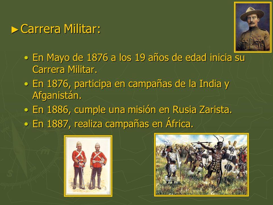 Carrera Militar: En Mayo de 1876 a los 19 años de edad inicia su Carrera Militar. En 1876, participa en campañas de la India y Afganistán.