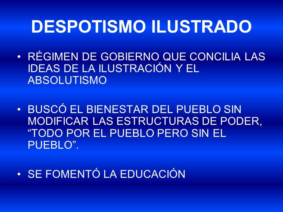 DESPOTISMO ILUSTRADO RÉGIMEN DE GOBIERNO QUE CONCILIA LAS IDEAS DE LA ILUSTRACIÓN Y EL ABSOLUTISMO.