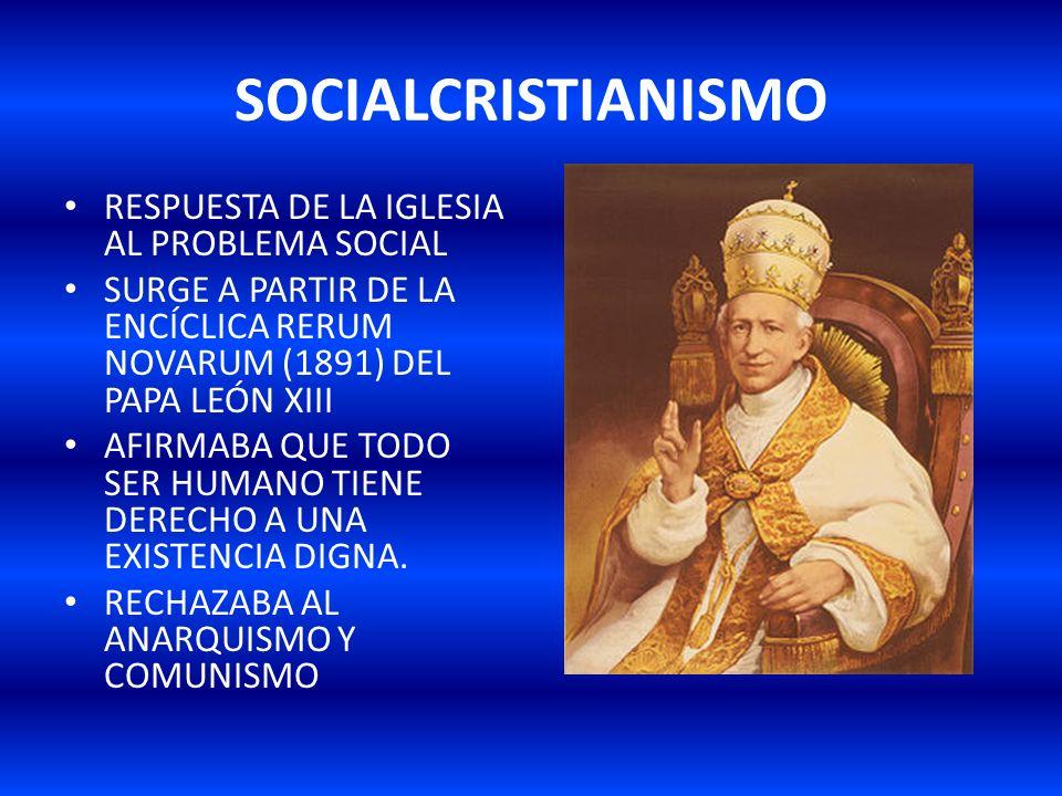 SOCIALCRISTIANISMO RESPUESTA DE LA IGLESIA AL PROBLEMA SOCIAL