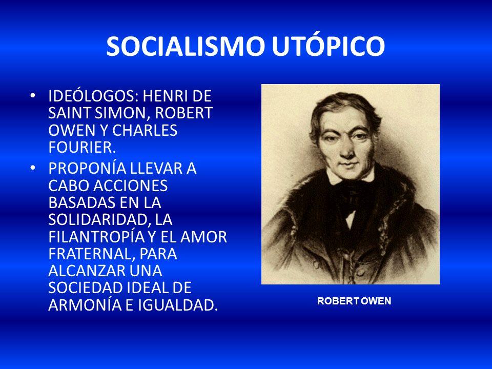 SOCIALISMO UTÓPICO IDEÓLOGOS: HENRI DE SAINT SIMON, ROBERT OWEN Y CHARLES FOURIER.
