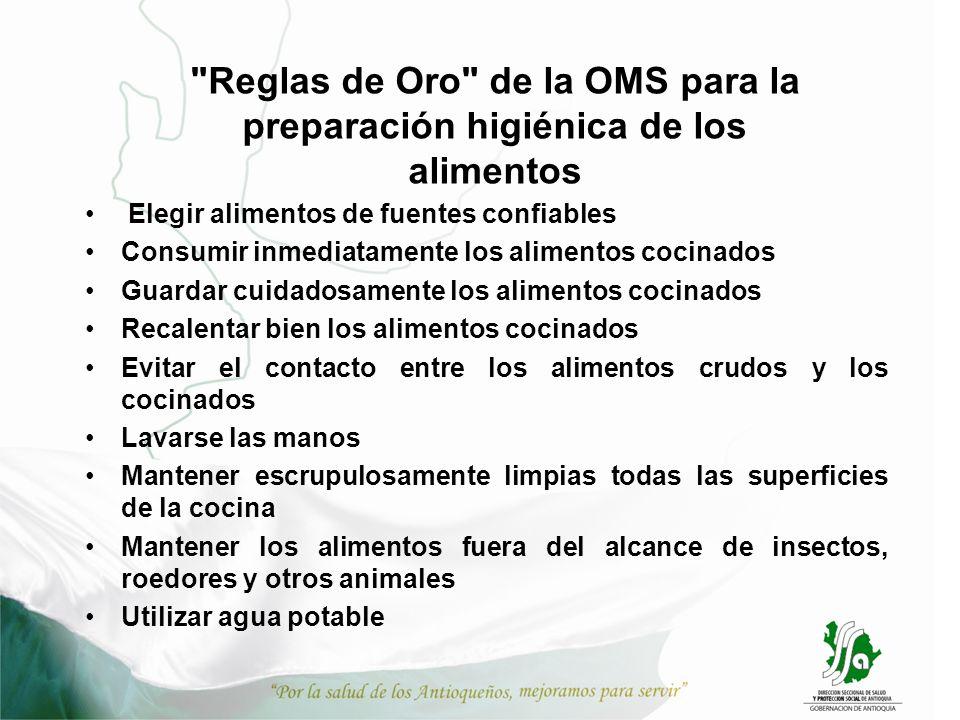 Reglas de Oro de la OMS para la preparación higiénica de los alimentos