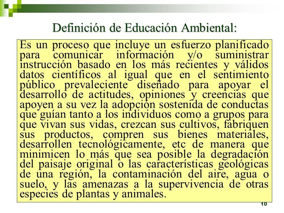 Definición de Educación Ambiental:
