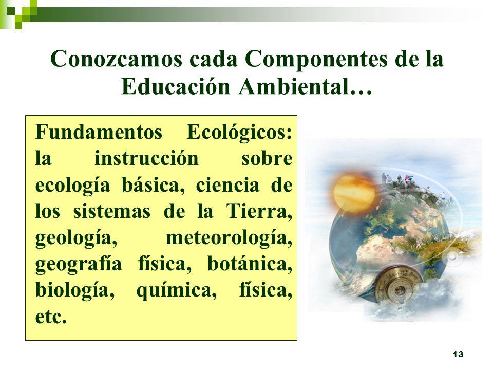 Conozcamos cada Componentes de la Educación Ambiental…