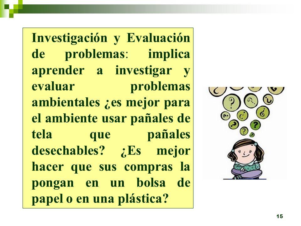 Investigación y Evaluación de problemas: implica aprender a investigar y evaluar problemas ambientales ¿es mejor para el ambiente usar pañales de tela que pañales desechables.