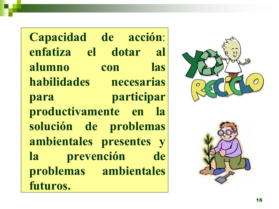 Capacidad de acción: enfatiza el dotar al alumno con las habilidades necesarias para participar productivamente en la solución de problemas ambientales presentes y la prevención de problemas ambientales futuros.