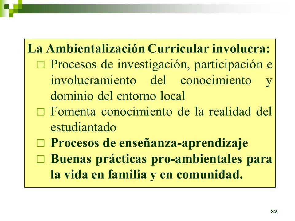 La Ambientalización Curricular involucra: