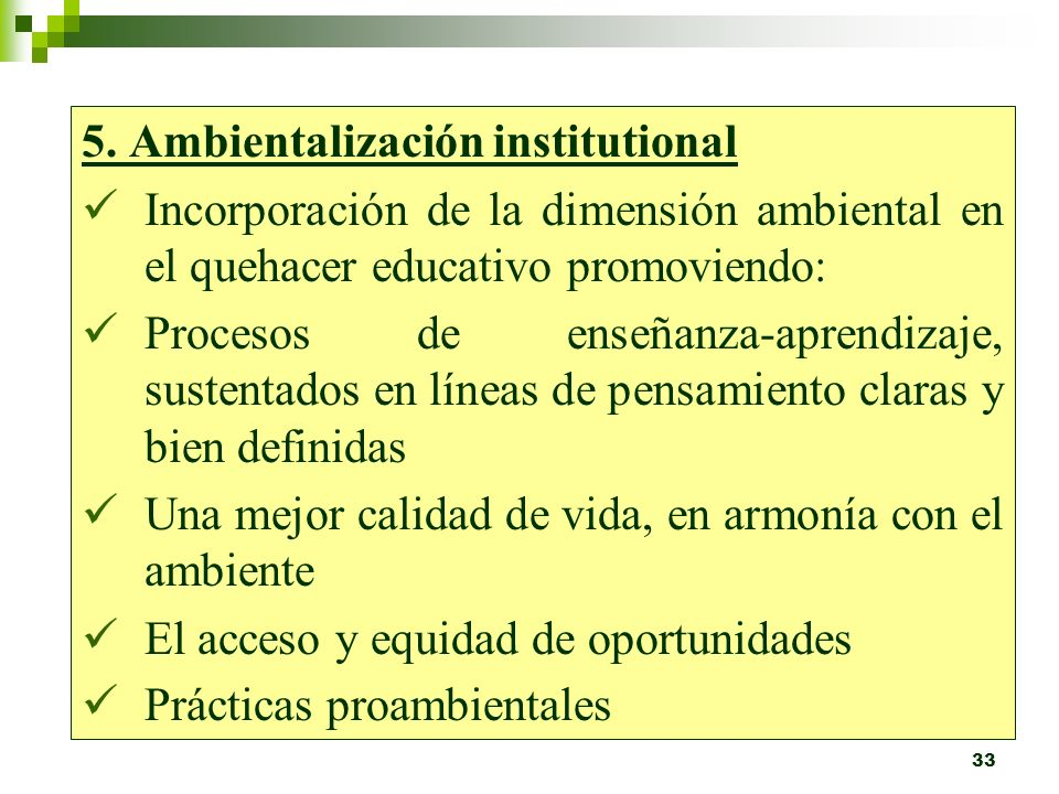 5. Ambientalización institutional