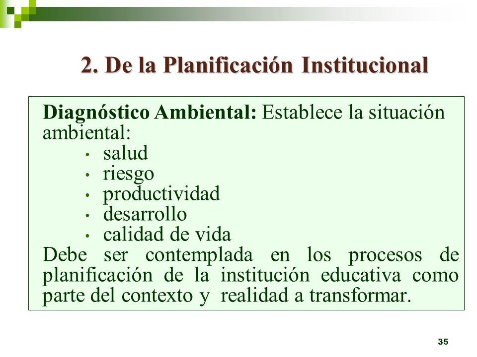 2. De la Planificación Institucional