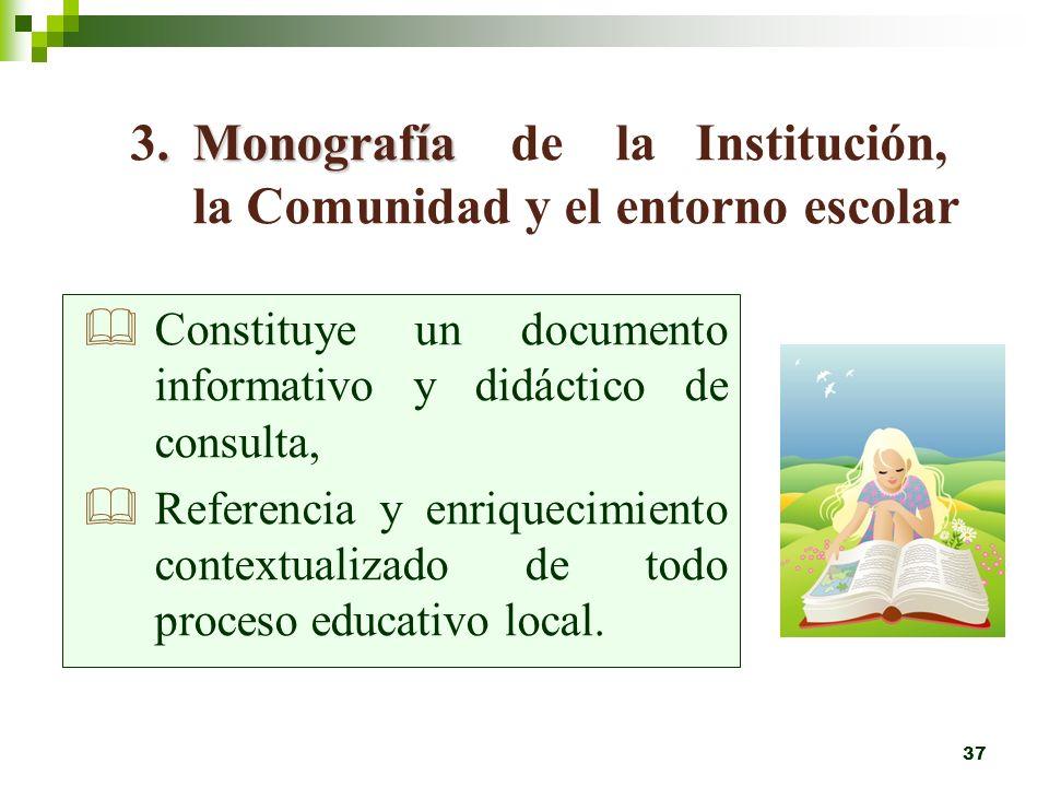 3. Monografía de la Institución, la Comunidad y el entorno escolar