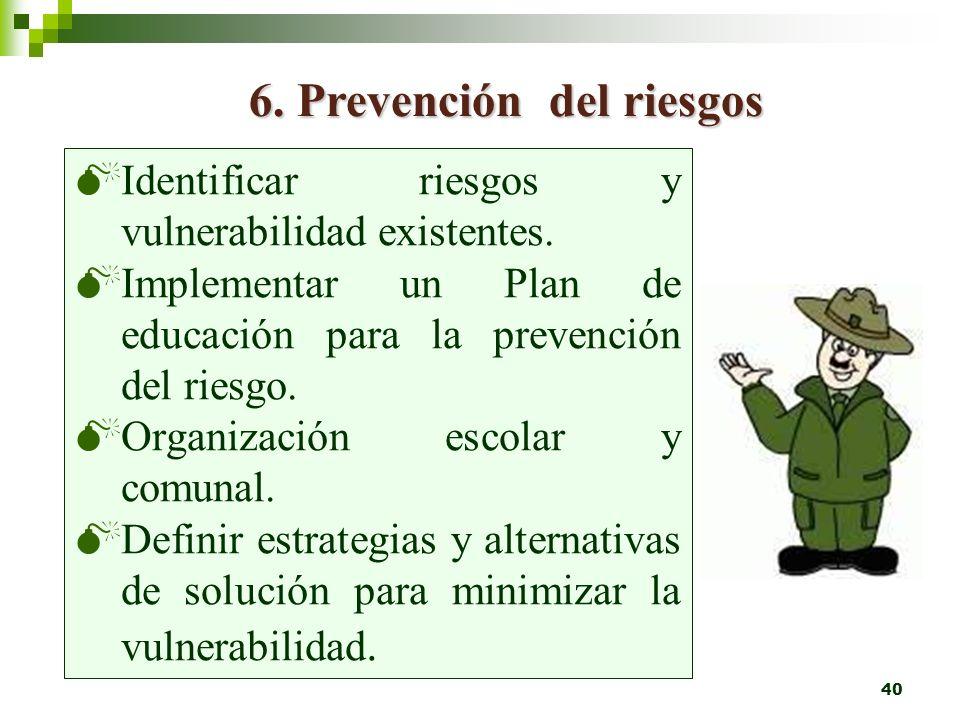 6. Prevención del riesgos
