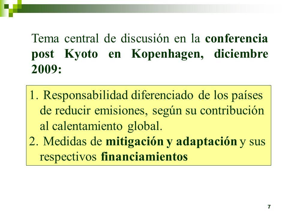 Tema central de discusión en la conferencia post Kyoto en Kopenhagen, diciembre 2009: