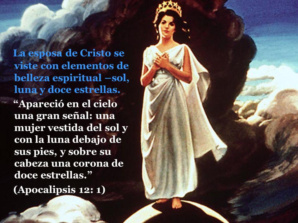 La esposa de Cristo se viste con elementos de belleza espiritual –sol, luna y doce estrellas.