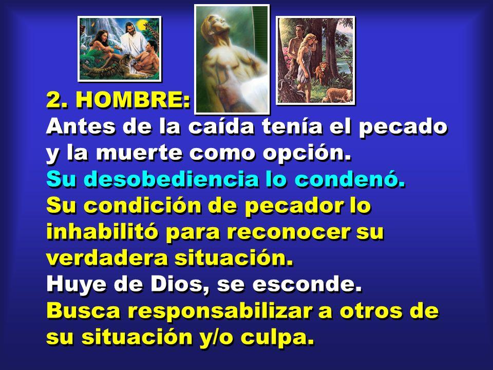 2. HOMBRE: Antes de la caída tenía el pecado y la muerte como opción. Su desobediencia lo condenó.