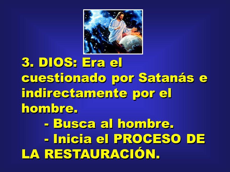 3. DIOS: Era el cuestionado por Satanás e indirectamente por el hombre.