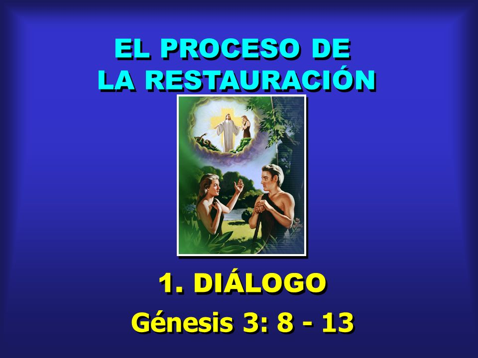 EL PROCESO DE LA RESTAURACIÓN 1. DIÁLOGO Génesis 3: 8 - 13