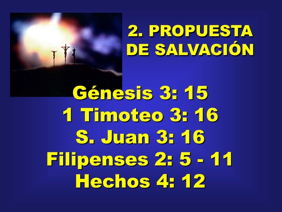 Génesis 3: 15 1 Timoteo 3: 16 S. Juan 3: 16 Filipenses 2: 5 - 11