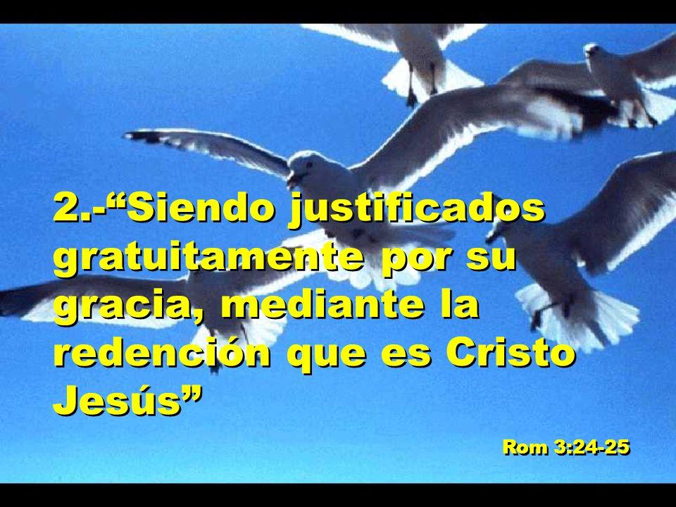 2.- Siendo justificados gratuitamente por su gracia, mediante la redención que es Cristo Jesús