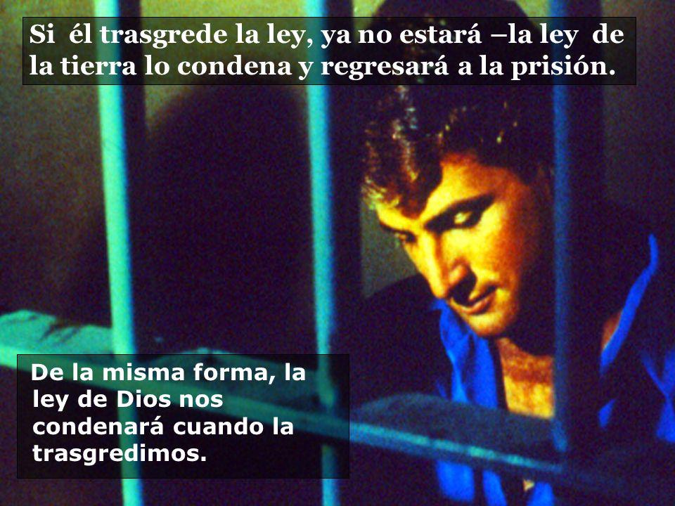 Si él trasgrede la ley, ya no estará –la ley de la tierra lo condena y regresará a la prisión.