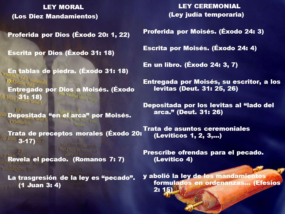 LEY CEREMONIAL LEY MORAL (Los Diez Mandamientos)