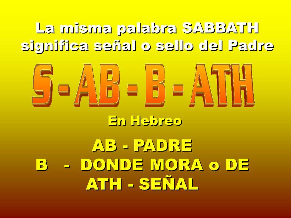 La misma palabra SABBATH significa señal o sello del Padre