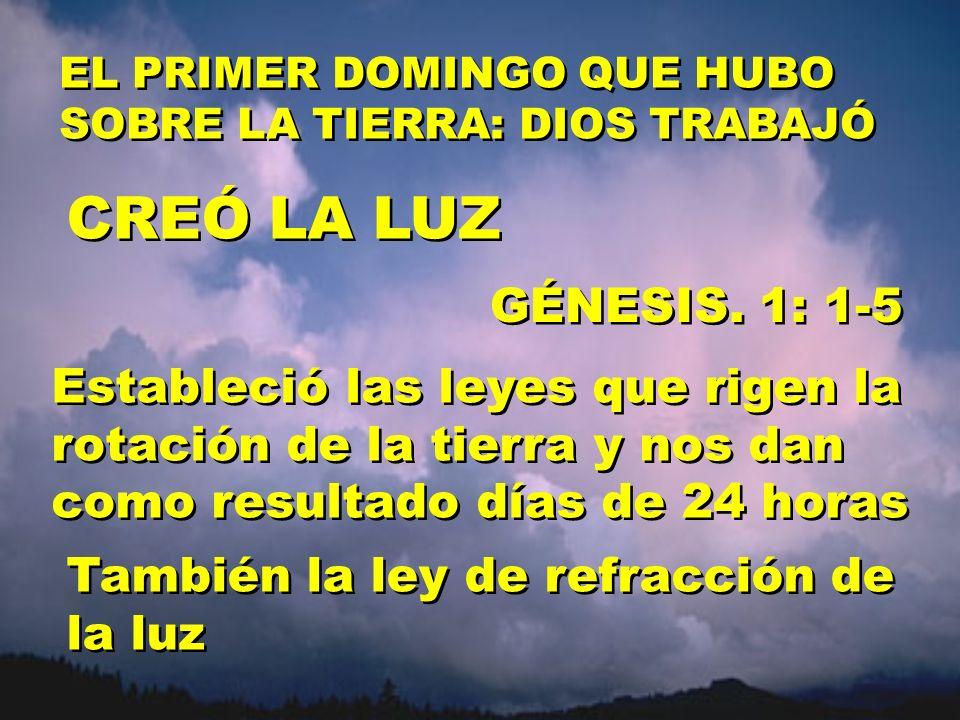 CREÓ LA LUZ GÉNESIS. 1: 1-5 Estableció las leyes que rigen la