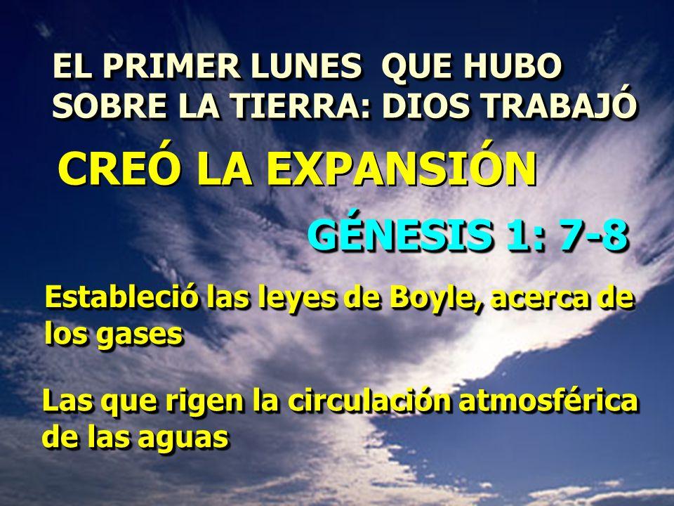 CREÓ LA EXPANSIÓN GÉNESIS 1: 7-8 EL PRIMER LUNES QUE HUBO