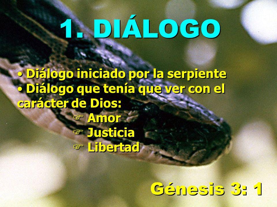 1. DIÁLOGO Génesis 3: 1 Diálogo iniciado por la serpiente