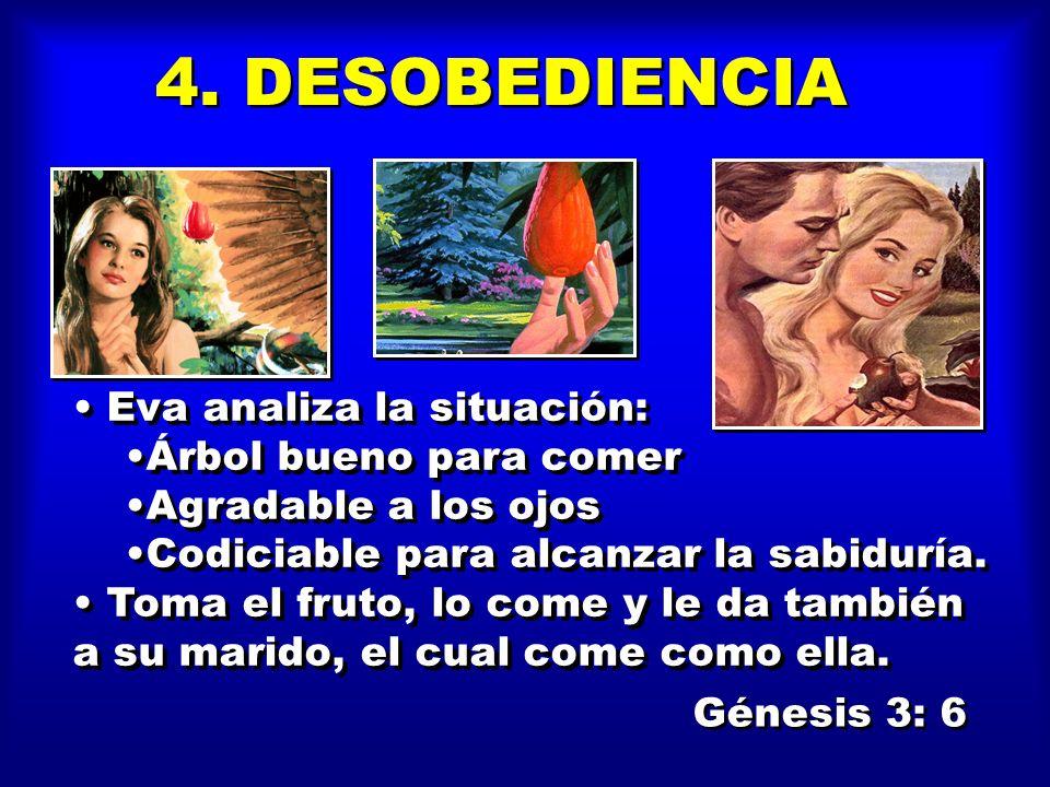 4. DESOBEDIENCIA Eva analiza la situación: Árbol bueno para comer